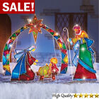 Lighted Outdoor Christmas Stake 4PCS Yard Mosaic Nativity Scene Holiday Decor