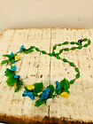 Vintage Glass Beaded Strand Bird Necklace Aqua Green and Yellow Great