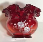 Fenton RUBY RED ROSE BOWL White Flowers Art Glass Hand Painted Signed with Tag