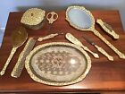 VINTAGE 10 pc CELLULOID VANITY DRESSER SET
