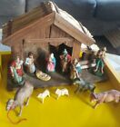 West Germany Antique Hand Painted Paper Mache Nativity Set W Manger Figurines