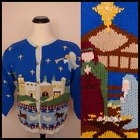 vtg 1980s Nativity Joseph Mary Jesus Bethlehem Ugly Christmas Cardigan Sweater L