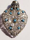 ANTIQUE CZECH SILVER  TURQUOISE OVERLAY GLASS PERFUME HEART SHAPED SCENT BOTTLE