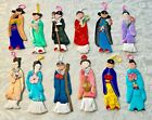 Vintage 12 Chinese Paper Cloth Doll Ornaments Peoples Republic of China