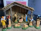 Vintage Sears Roebuck 11 Piece Christmas Nativity Set Original Box Hand Painted
