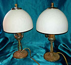 Antique Aladdin Iron w Dome Ice Chip Glass Shades Mantel or Boudoir Lamp Pair