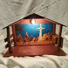 Vintage Nativity Wood Stable CRECHE Mid Century Japan Christmas MUSIC LIGHT