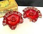 Vtg Pair Fenton Red Yellow Amberina Art Glass Basket Weave Footed Candle Holders