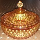 Amberina Glass Hobnail Covered Candy Dish