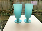 2 VINTAGE FRENCH BLUE OPALINE PORTIEUX VALLERYSTHAL FRANCE GLASS GOBLETS 625