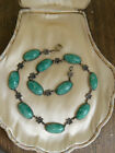 Antique 1920s Sterling Czech Satin Glass Green Cabochon Necklace PRISTINE