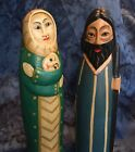 Nativity EthnIc Figures Contemporary Abstract Hand Carved Wood Painted Indonesia