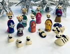 DAY of the DEAD Nativity Hand painted Christmas Nativity Set 13 Pieces