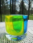 Art Glass Candle Holder Blue and Yellow cased Glass Optic Green 3 Vertical Lines