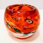 Vintage Blown Art Glass Millefiori Orange Votive Candle Holder Paperweight