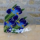 Peggy Karr Blue Iris Irises Floral Flowers Fused Glass Serving Heart Plate Dish