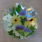 Peggy Karr Butterfly Floral Garden Flowers Fused Glass Serving Ruffle Bowl Dish
