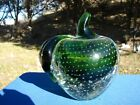 Large MURANO Control Bubble GLASS APPLE Green PAPERWEIGHT Heavy