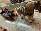 Vintage hand carved horse sleigh and driver 1940s 1950s