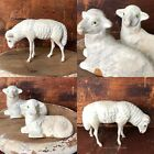 Three Antique German Christmas Nativity Sheep Composition Wooden Legs Glass Eyes