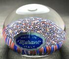 MURANO Art Glass Floral Flowers Paperweight Made in Italy