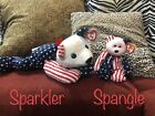 1999 TY Beanie Babies Sparkler & Spangle ERRORS -BOTH LARGE AND SMALL *RARE*