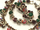 Vintage Signed Weiss Green Red Glass Parure Necklace Bracelet Earrings WOW