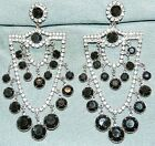 VINTAGE GORGEOUS ART DECO CHANDELIER CRYSTAL GLASS DANGLE LONG CLIP ON EARRINGS
