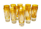12 Bohemian Amber Glass Cut to Clear Iced Tea Goblets