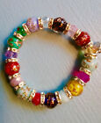 NWOT Beautiful Sparkling MURANO GLASS Beads Bracelet with Crystal Spacers