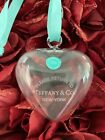 TiffanyCo Ornament Puffy Heart Clear Crystal Glass Christmas Tree Holiday Retire