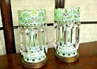 Pair Bohemian Moser Cased Art Glass Mantle Luster Lamps  Prisms White to Green