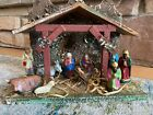 Vintage Crche Christmas Nativity Set Scene Stable + 11 Fig Made in West Germany