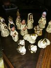 Vintage 14 Piece Nativity Set Rustic Shabby Looking Possibly Handmade