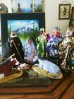Santons France Nativity Mary Joseph Jesus Fabric clay 3 Wise Men Animals 11 Inch
