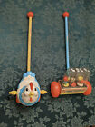 Vintage Fisher Price Push Toys 121 Happy Hoppers1969  194 Chicken 1971
