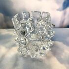 Vintage Murano Barovier Toso Glass Brutalist Clear Vase Candle Holder 4 Tall
