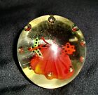 Vintage Red Flower with Butterflies in Clear Glass Paperweight