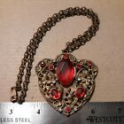 ART NOUVEAU DECO OPEN BACK RED GLASS RHINESTONE BRASS FLOWERS NECKLACE PENDANT