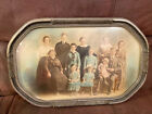 ANTIQUE BUBBLE GLASS VICTORIAN Wooden FRAME WITH EARLY PHOTO