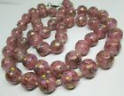 Vintage Murano Venetian Glass ROSES Wedding Cake Pink Necklace 36 15MM