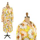 Vintage 70s Tanner Yellow + Orange Mod Abstract Floral Print Retro Shift Dress L