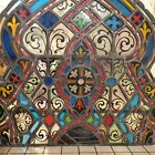 LARGE ARCHED 3 CROWNED ANTIQUE CHURCH STAINED GLASS WINDOW 33 x 24
