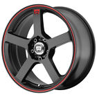 4 Motegi MR116 16x7 4x100 4x45 +40mm Black Red Wheels Rims 16 Inch