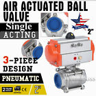 Pneumatic Air Actuated Stainless Ball Valve 2 Inch Single Acting Spring Return