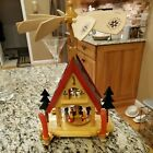 Erzgebirge 4 Candle Pyramid Nativity Wooden Carousel Windmill German