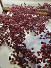 POTTERY BARN 5 Long Cranberry Red Wired Glass Garland Gently Used 6 strands