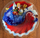 Signed Peggy Karr Father Christmas 105 Fused Art Glass Bowl Santa  Toy Sack