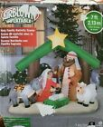 Gemmy 7ft Holy Family Nativity Scene with Donkey and Sheep Inflatable