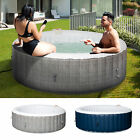 4 6 Person Portable Hot Tub Spa Outdoor Round Heated Spa w 130 Bubble Jets